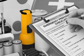 Emergency preparation checklist lists off important survival items like water containers, first aid kid, torch, battery operated radio, batteries, tined food (non-perishable), can opener, and dust masks.