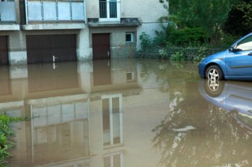 flooded garage and car