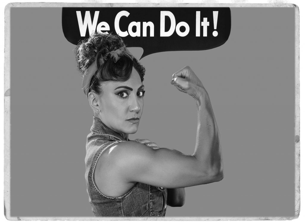 Roxanne muscle image as Rosie the Riveter - worker's compensation