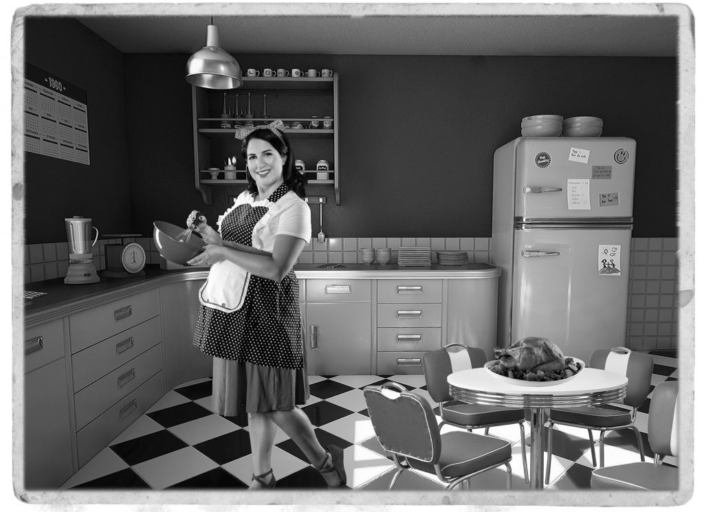 1950s black and white kitchen with Hanson and Ryan team member