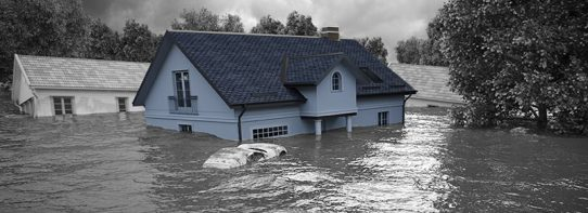 Home under water due to a flood